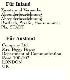 Beispiel für eine korrekte Postanschrift nach DIN 5008